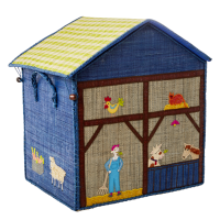 Large Blue Farm Theme Raffia Toy Storage Basket Rice DK
