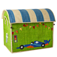 Large Racing Car Theme Raffia Toy Storage Basket Rice DK