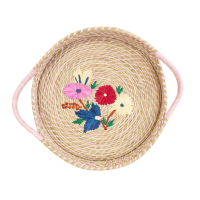 Large Raffia Bread Basket Flower Embroidery By Rice DK