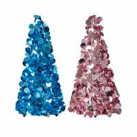 Large Sequin Christmas Tree in Blue or Pink By Rice DK