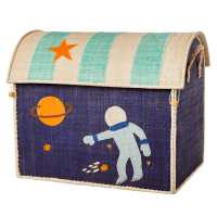 Large Space Theme Raffia Toy Storage Basket Rice DK