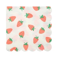Strawberry Print Large Paper Napkins By Meri Meri