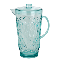 Large Mint Swirly Embossed Acrylic Jug With Lid Rice