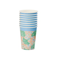 Leaves & Flower Print Set of 8 Paper Cups By Rice DK