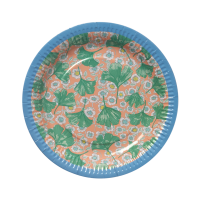 Leaves & Flower Print Set of 8 Paper Plates By Rice DK