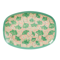 Leaves & Flower Print Rectangular Melamine Plate Rice DK