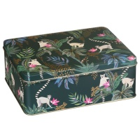 Lemur Print Rectangular Storage Tin By Sara Miller London