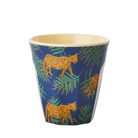 Kids Small Melamine Cup Leopard and Leaves Print Rice DK