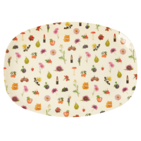 Lipstick Fall Print Rectangular Melamine Plate By Rice DK