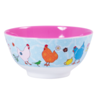 Melamine Bowl - Two Tone Hen print by Rice DK