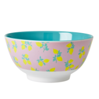 Melamine Bowl Two Tone Lemon Print & Dusty Jade Rice DK