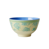 Cream & Green Palm Leaf Print Small Melamine Bowl Rice DK