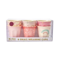 Set of 6 Small Melamine Kids Cups Pink Rainbow Prints Rice DK