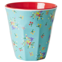 Aqua Mini Flower Print Two Tone Melamine Cup Rice Dk