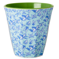 Birds and Butterflies Blue and Green Melamine Print  Cup Two Tone by Rice DK