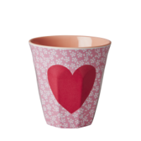 Pink Melamine Cup Heart & white flowers Two Tone Rice DK