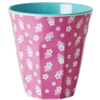 Pink Melanine Cup With White Flowers Rice DK