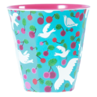 Turquoise Dove Print Two Tone Melamine Cup Rice DK
