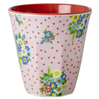 Two Tone Melamine Cup with Vintage Flower Print Rice DK
