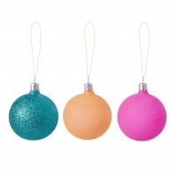 Medium Christmas Glass Baubles Pink, Orange, Mint Rice DK