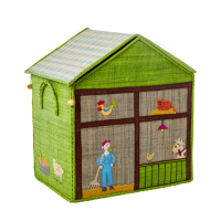 Medium Green Farm Theme Raffia Toy Storage Basket Rice DK