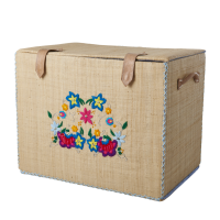 Medium Raffia Storage Basket Embroidered Flowers Rice