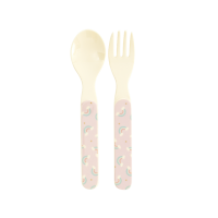Kids Melamine Spoon & Fork Set Rainbow Print by Rice DK