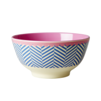 Rice DK Sailor Blue Striped Print Melamine Bowl