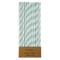 Blue Striped Paper Party Straws By Meri Meri