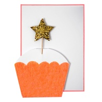 Cupcake With Gold Star Greeting Card by Meri Meri