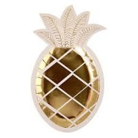 Meri Meri Gold Pineapple Shaped Paper Plates Pack of 8