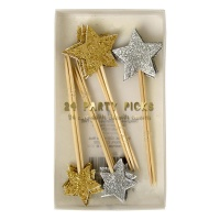 Gold and Silver Glitter Star Party Picks By Meri Meri
