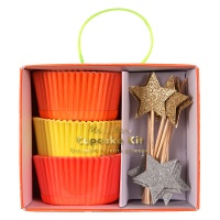 Neon Coloured Cupcake Kit Gold & Silver  Star Toppers By Meri Meri