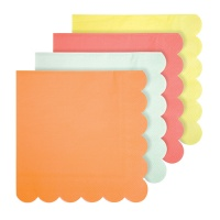 Bright Neon Coloured Large Paper Napkins By Meri Meri