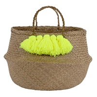 Neon Yellow Tassel Natural Belly Basket By Meri Meri