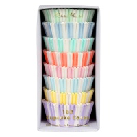 Set 100 Pastel Striped Cupcake Cases By Meri Meri