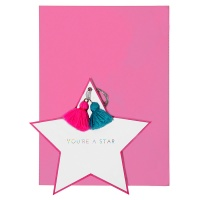 Star Shaped Greeting Card with Coloured Tassels By Meri Meri