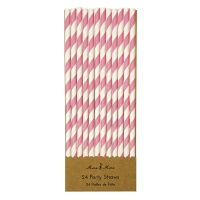 Pink Striped Paper Party Straws By Meri Meri