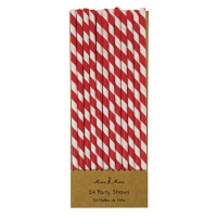 Red Striped Paper Party Straws By Meri Meri