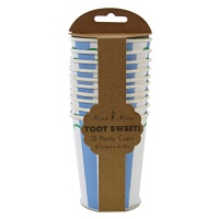 Set of 12 Blue Striped Party Cups By Meri Meri