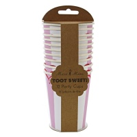 Set of 12 Pink Striped Party Cups By Meri Meri