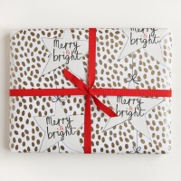 Merry & Bright Gold Spot & Star Wrapping Paper By Caroline Gardner