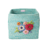 Raffia Square Basket Embroidered Flowers In Mint By Rice