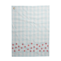 Mint Checked Cotton Tea Towel & Coral Dot Print Rice DK