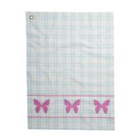 Mint Checked Cotton Tea Towel & Pink Butterfly Print Rice DK