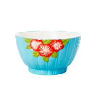 Ceramic Bowl with Embossed Mint Flower Design Rice DK