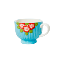 Ceramic Mug with Embossed Mint Flower Design Rice DK