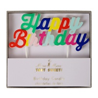 Colourful Happy Birthday Candle By Meri Meri