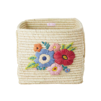 Raffia Square Basket Embroidered Flowers In Natural By Rice