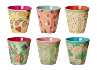 Set of 6 Two Tone Cups in Today Is Fun Prints By Rice DK